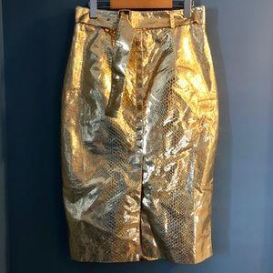 Gold Snake Skin High Waisted Skirt